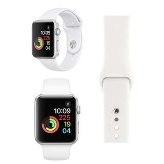 Apple Watch Series 1 Silver Aluminum Case with White Sport Band 42mm