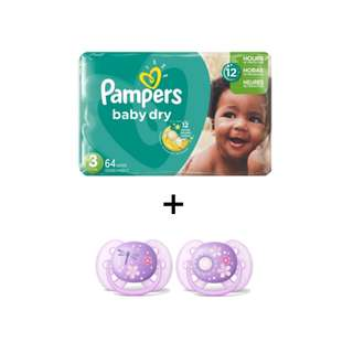 Pampers Diapers Baby Small 82's + Philips Avent Pacifier