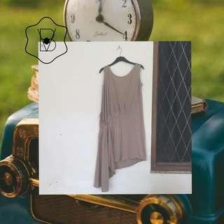 Dress coklat asimetris