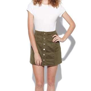 Pare Basic Shelby Skirt Khaki