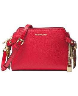 Michael Kors 30H7GZKM6L Bristol medium messenger 紅配金色手袋