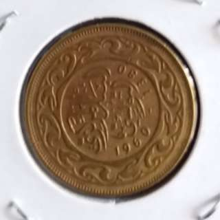 非洲突尼斯1960年10米利姆銅幣(罕有)