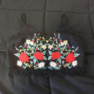 Dotti Floral Embroidered Crop