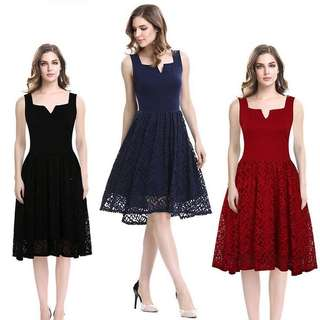 Free Shipping A-line Boat Neck Lace Evening Dress