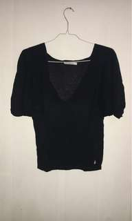 Black V-Neck Knit Top