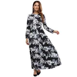 Boho Long Sleeve Floral Dress