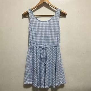 [Preloved] Light Blue Plaid Cotton Dress