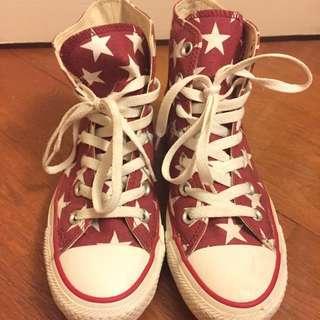 🚚 Converse 中筒 紅底白星星款