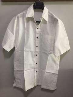 White linen button down polo
