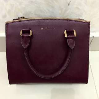 Authentic Charles and keith (singapore store) maroon tote bag