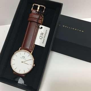 DW啡色皮錶36mm