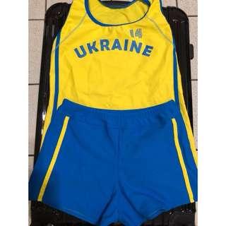 全新 女生 韓款 游泳衣 兩件式 平角 運動款 學生 泳衣 遮肚 顯瘦 保守 溫泉