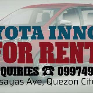 Toyota innova 2017 for rent in quezon city