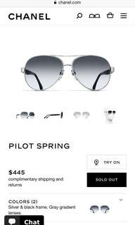 Authentic Chanel pilot spring sunglasses