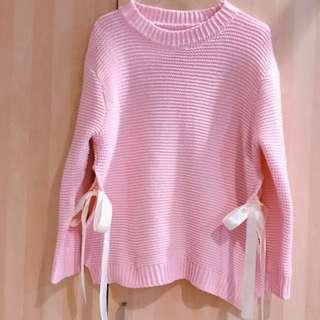 ⚠️最後降價⚠️🚚含運🚚韓 不撞款超美側蝴蝶結粉色針織上衣