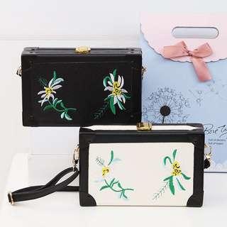 Ladies Korean Style Flower Embroidered Crossbody Sling Bag