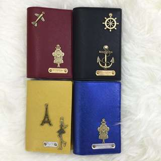 Personalised Passport Holder Customised Passport Cover Metallic Saffiano Blue / Saffiano Yellow / Saffiano Burgundy / Saffiano Black Multi colours & many charms to choose from. FREE SHIPPING