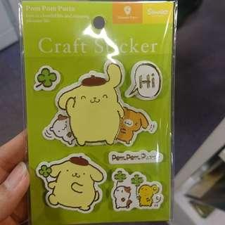 包郵!布丁狗立體貼紙 pompompurin craft sticker