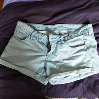 H&M light blue denim shorts UK12-14