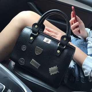 Ladies Casual Style Badges Crossbody Sling Bag / Hand Bag