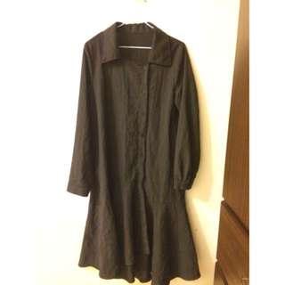 黑色棉麻魚尾古著洋裝 vintage