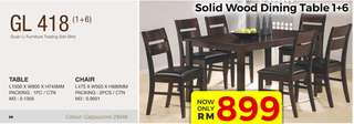 Offer solid wood dining table set chair 1+6 model - GL418
