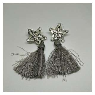 Stylish Grey Tassel Party Star earring