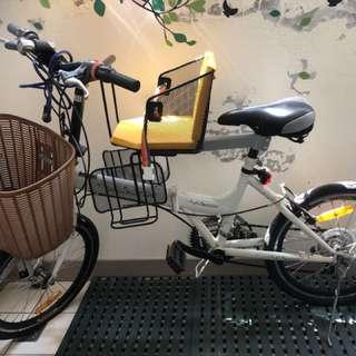 白色親子腳踏車