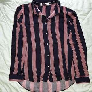 H&m stripe top maroon cutting label