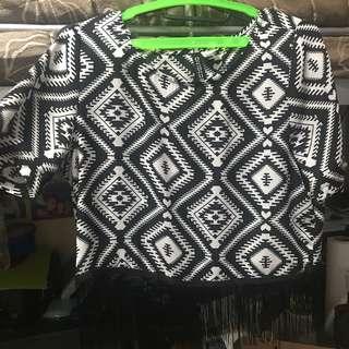 H&M Aztec fringe top