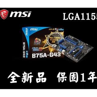 (全新正品絕版保固1年) 微星 B75A-G43 LAG1155 附檔板