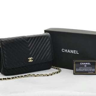 Chanel Woc Chevron Caviar