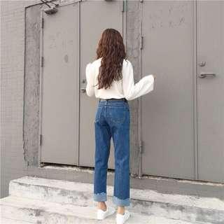 韓版牛仔褲 寬鬆