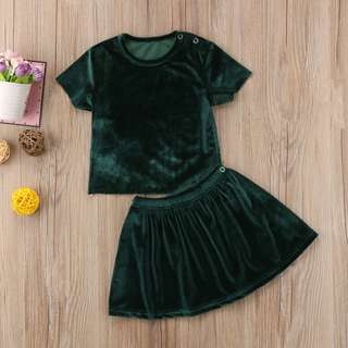 Velvet Top & Skirt Set