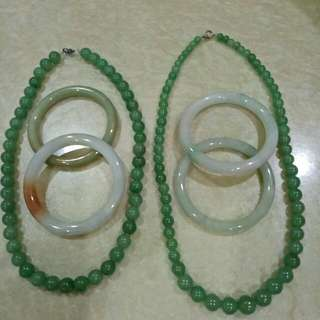Authentic Greenish Jade Necklace With Bangle