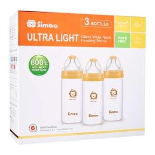 🚚 Simba ultra light wide neck glass feeding bottle 3 pcs (180ml)