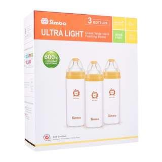 Simba ultra light wide neck glass feeding bottle 3 pcs (260ml)