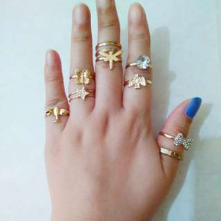 9 pieces rings assorted size