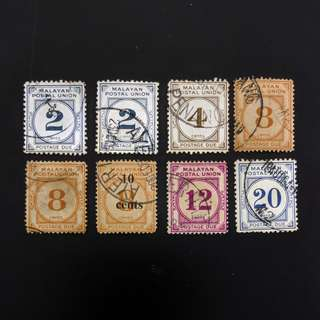 8v Malayan Postal Union Postage Due Stamps  -  Used