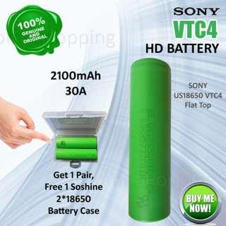 18650 Battery - SONY VTC4 US18650 2100mAh, 30A Flat Top High Drain (Singapore Plant)