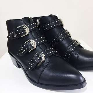 Genuine Leather studded ankle boots with buckles
