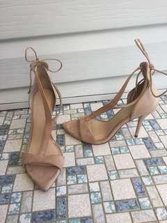 Size 37 nude strappy tie up zara heels