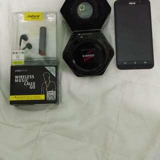 Asus zenfone 2, Casio Gshock, Jabra Bluetooth stereo headset (new)