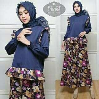 4 Warna Set kulot Erline setelan hijab setelan kulot dan blouse hijab