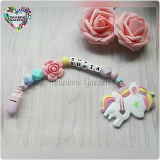 Handmade Customized Pacifier Clip with letter beads + Pastel Unicorn Teether