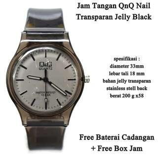 jam tangan qnq transparan Nail black
