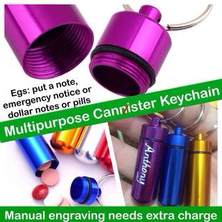 Aluminium Multipurpose Canister Keychain (manual-engraving is optional [additional charges]) [ gifts handmade uncle.anthony uncle anthony uac 2bump]