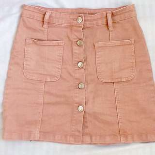 Pink Denim Skirt Button up denim skirt