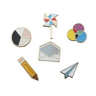 INSTOCK set of enamel pins classroom school theme