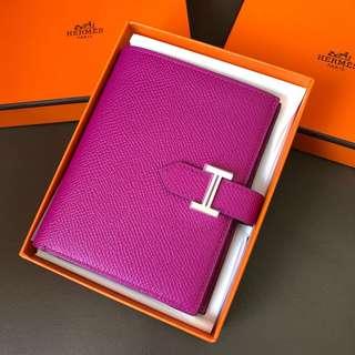 Hermes Bearn L3紫色short Wallet epsom皮銀釦